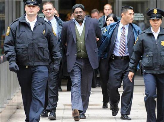 Raj Rajaratnam, CEO of Galleon Group being arrested for using and profiting from insider trading information on October 16, 2009