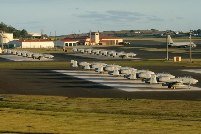 All eighteen 75th EFS A-10Cs Warthogs are parking at Lajes Field, Azores, diverted in three sections of six aircraft each