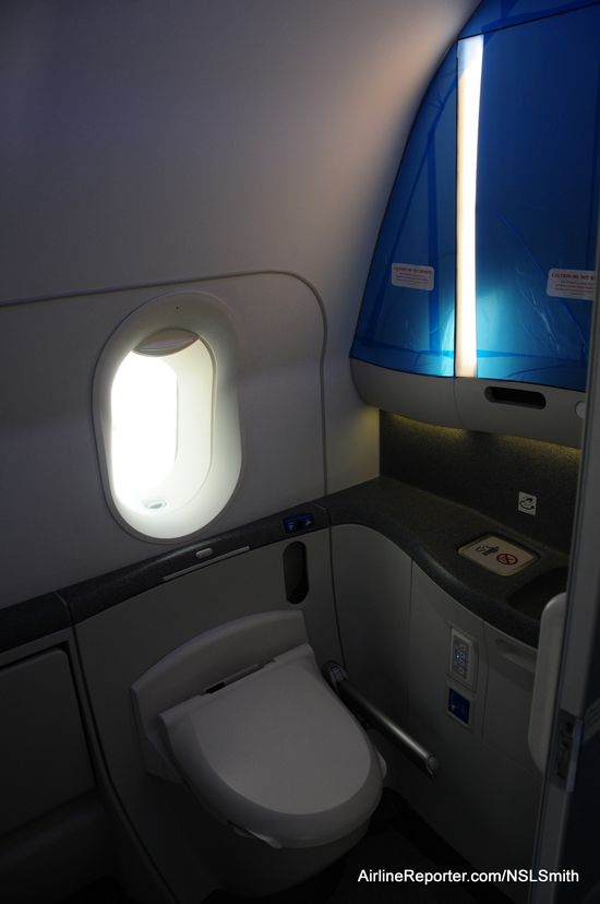 The lavoratory on each ANA Boeing 787 Dreamliner