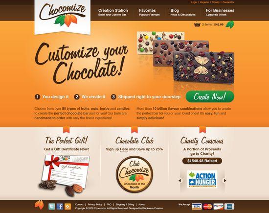 Chocomize, Customize your Chocolate, homepage