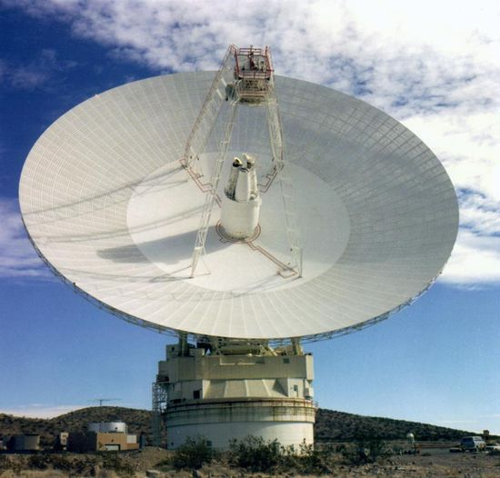 Front view of the 70 meter diameter Deep Space Network radio stelescope located at Goldstone, Calif