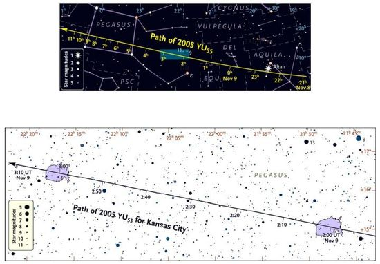 Asteroid 2005 YU55 will traverse across the Constellation Pegasus over an 11-hour period, but viewable in North America for about one hour