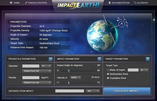 The parameters screen of the 'Impact Earth' website allows users to input the diameter and density of the projectile, the impact angle and velocity, and whether the projectile will hit water or rock