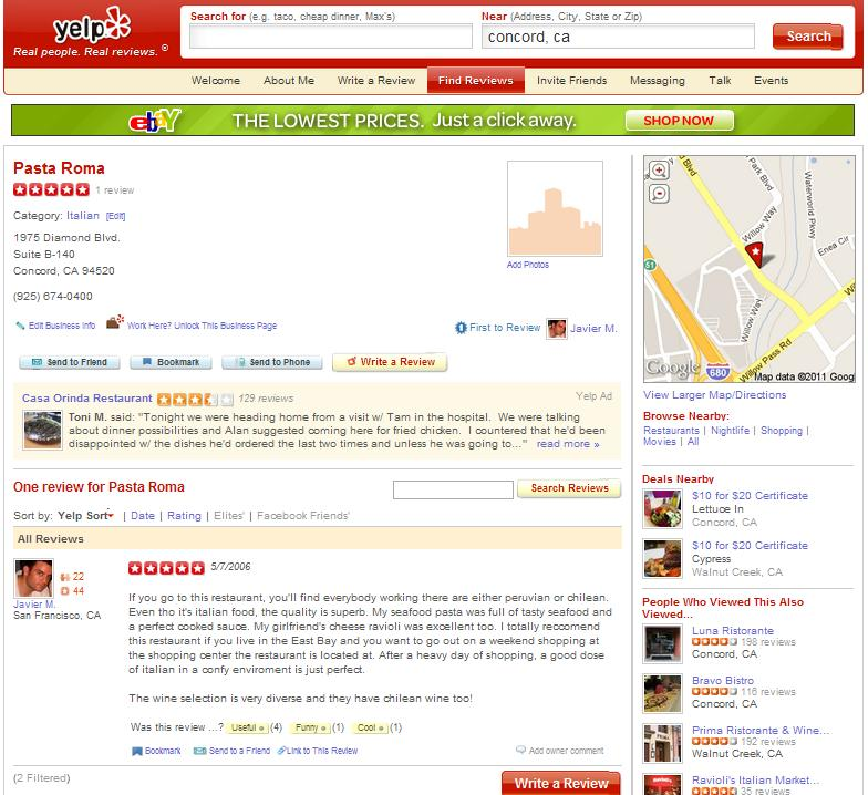 Yelp local business reviews