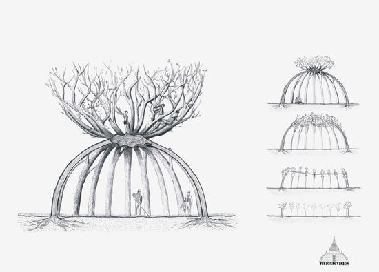 Visiondivision's 'The Patient Gardener' dome made from trees concept drawing