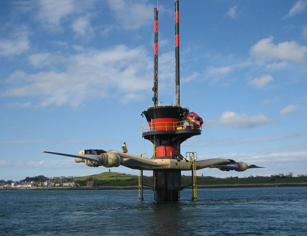 This dual-rotor tidal turbine has been feeding up to 1.2 megawatts of power to the Irish grid since 2008. Commercial versions will generate two megawatts.