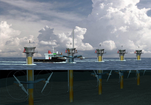 Artist's impression of the planned SeaGen 10MW ocean wave turbine installation