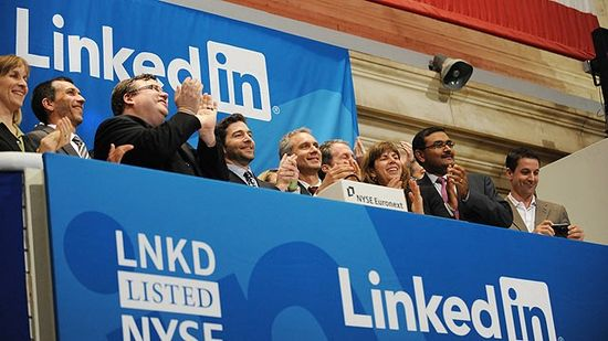 LinkedIn management team during their IPO first day of trading