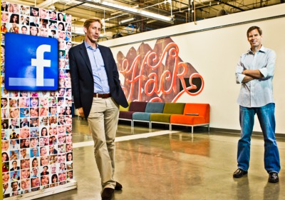 David Fischer (left) oversees ads and Brad Smallwood heads analytics teams at Facebook's Palo Alto headquarters