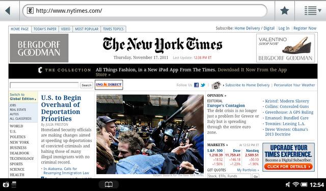 B&N Nook Tablet NYT
