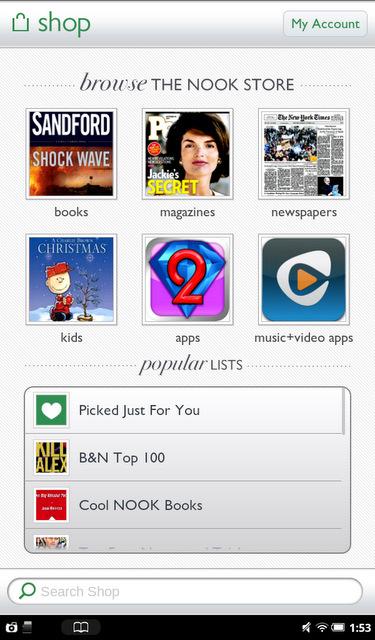 B&N Nook Tablet App Shop