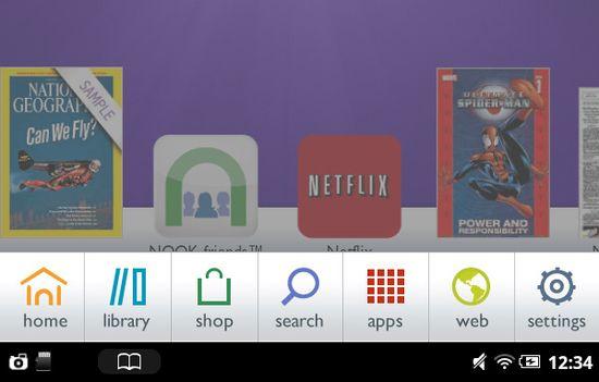 B&N Nook Tablet Home Button Menu