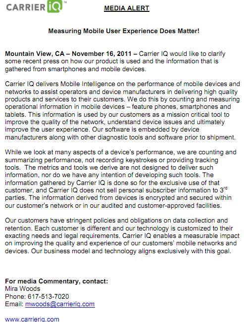 Carrier IQ Media Alert - 'Measuring Mobile User Experience Does Matter!'  - November 16, 2011
