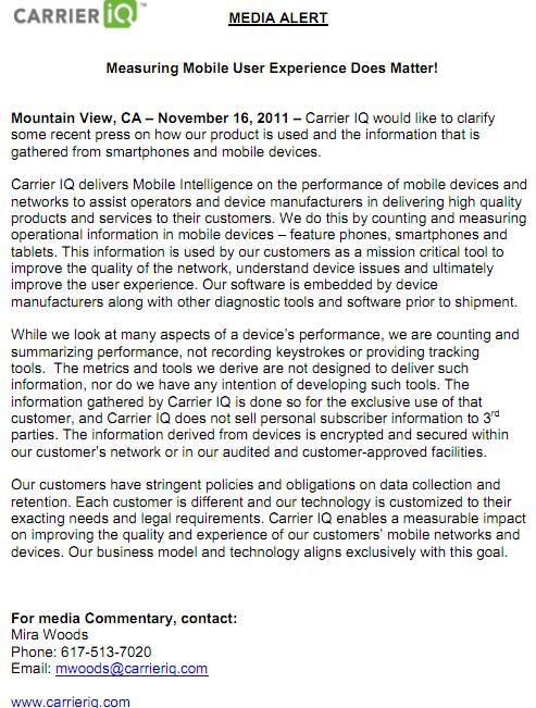 Carrier IQ Media Alert - 'Measuring Mobile User Experience Does Matter!'  - November 16, 2011