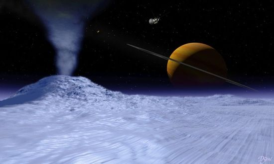 NASA Scientists Ask 'Is Life Possibile on Saturn's Moon Enceladus' (Artists concept of what surface might look like)
