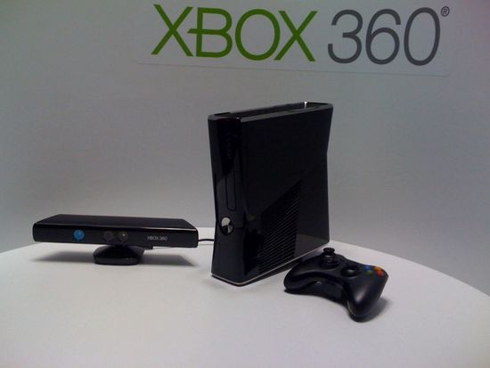 Microsoft Xbox 360 Setup includes Kinect (left), Xbox 360 console (center), and Xbox 360 game controller (right)