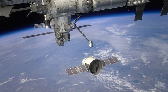 Dragon spacecraft rendezvous with the ISS