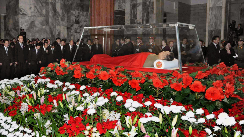 The body of North Korean leader Kim Jong Il is laid in a memorial palace in Pyongyang, North Korea, Tuesday, Dec. 20, 2011. (AP-Kyodo News)