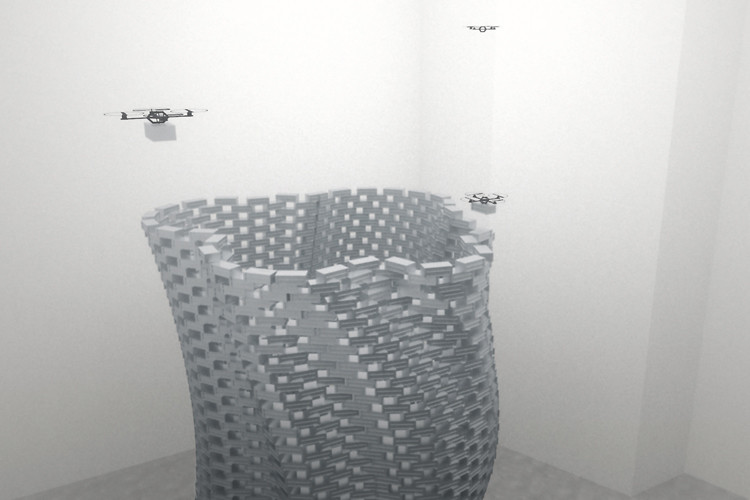 Flight Assembled Architecture using four quadrocopters to build a 20-ft tower 9