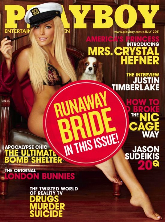Playmate Crystal Harris (and Charlie) graces the cover of the July 2011 issue of Playboy.