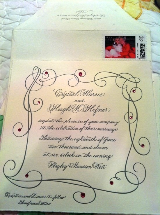 The wedding invitation announcing the wedding of Hugh Hefner and Crystal Harris
