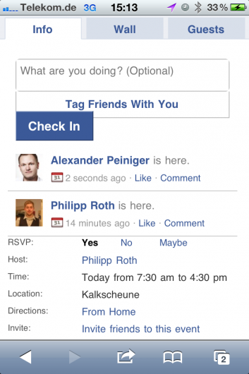 Facebook Places Event Check-in for the iPhone