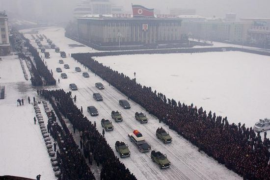 Several dozen other sedans followed behind, carrying members of Mr. Kim's family and leaders of his authoritarian government