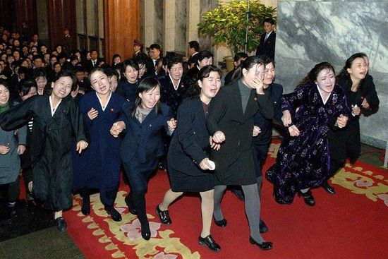 Women cried at the Kumsusan Memorial Palace, where Mr. Kim's body was laid for people to pay tribute, in Pyongyang on Tuesday