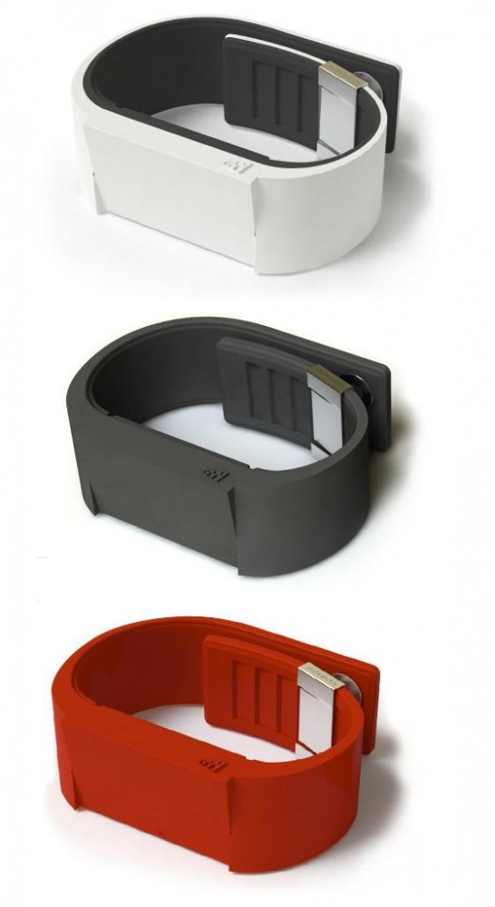 Mutewatch comes in white, charcoal black and red