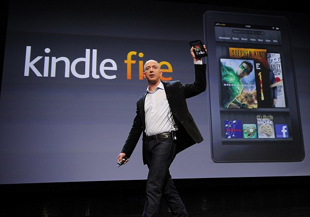 Amazon CEO Jeff Bezos unveiling the Kindle Fire tablet on September 29, 2011
