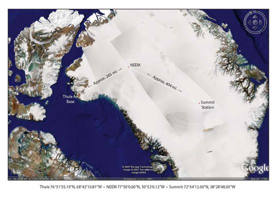Thule Air Base location in Greenland