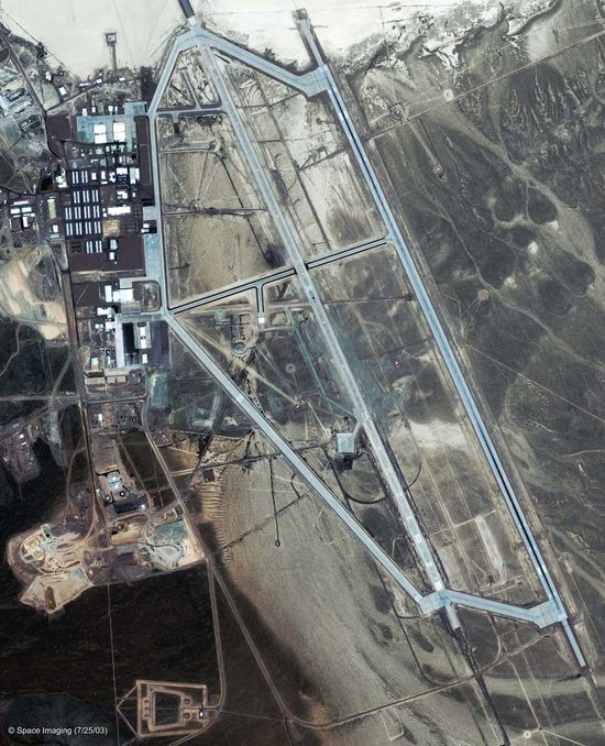 According to the U.S. government, Area 51 does not exist.  Google Earth says it does.  Here is an aerial view of Area 51 highlighting its airfields