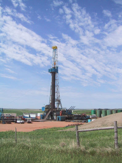 A Nabors land drilling rig on the prairie of western North Dakota