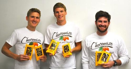 Unable to find jobs in their chosen professions after graduation, Eric Heinbockel, Nick LaCava and Fabian Kaempfer decided to start Chocomize, a customizable-chocolate company