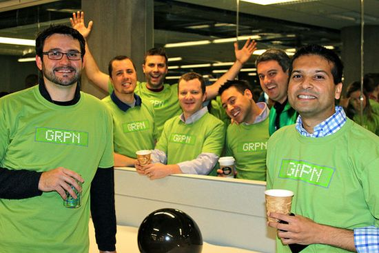 Groupon employees celebrated Friday the company's public-market debut at its Chicago headquarters