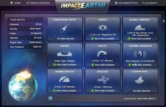 The results screen shows users the likely scenario of their impact, including crater size, seismic effects, air blast, energy equivalent and global damage