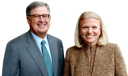 On October 25, 2011, IBM's board announced that Virginia M. Rometty (right) would succeed Samuel Palmisano (left) as CEO of IBM beginning in 2012