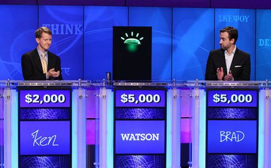 In February 2011, IBM's 'Watson', the talking super-computer, proved its superiority by defeating two human contestants on the TV game show 'Jeopardy'