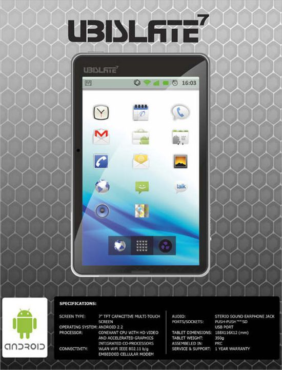 Aakash Ubislate 7-in Android tablet specifications