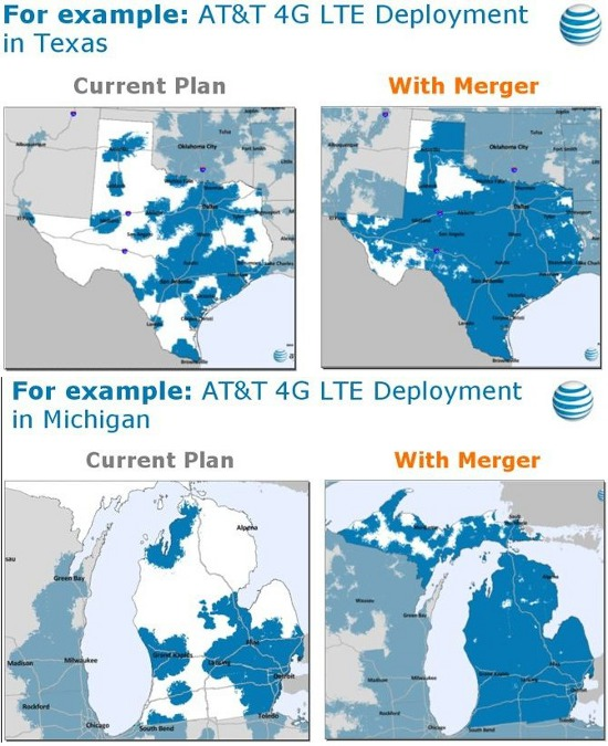 With T-Mobile - AT&T 4G LTE Deployment before and after the merger for the states of Texas and Michigan