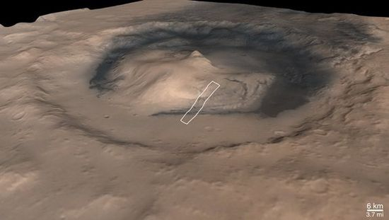 Gale Crater landing site for the Curiosity Rover. 3-D enhanced Image showing approximate landing zone
