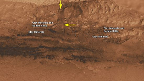 Gale Crater landing site for the Curiosity Rover. Lower portion of mound inside Gale Crater containing clay minerals and sulfate salts