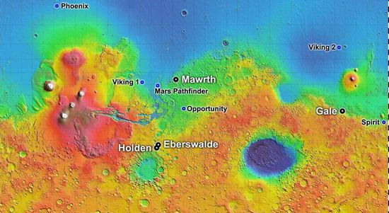 Four finalist landing sites (IN CAPS) for the MSL Curiosity Rover and previous MER landing sites