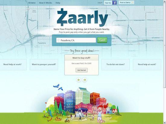 Zaarly homeopage