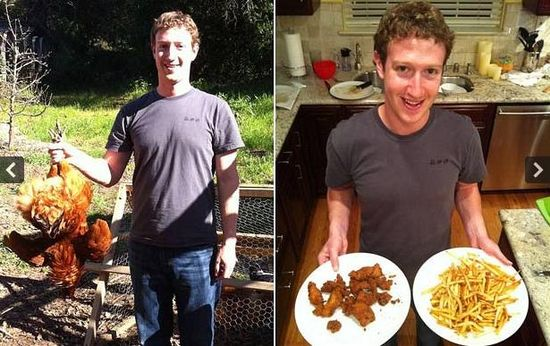 Hijacked picture of Zuck stealing chickens and then making fried chicken and french fries for din-din