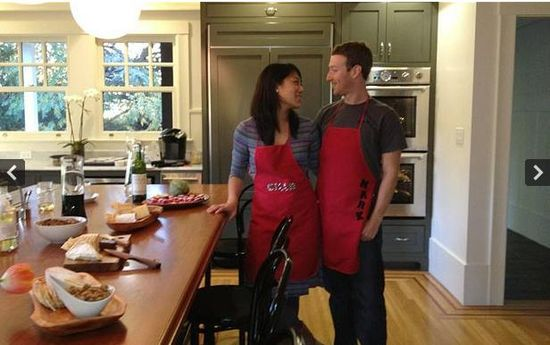 Hijacked picture of Zuck and girlfriend Priscilla Chan in the kitchen cooking up stolen chicken
