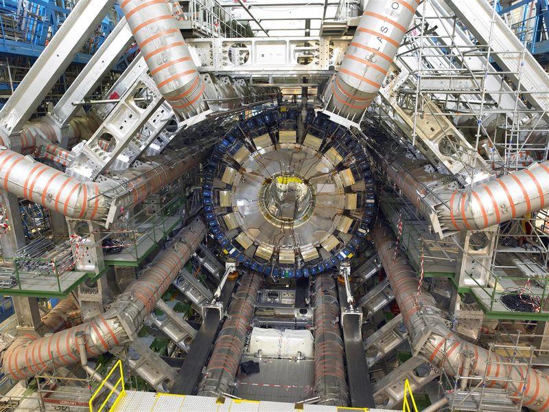 A view of the barrel calorimeter and barrel toroid magnets of the ATLAS detector