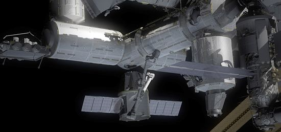 Dragon spacecraft connecting with the ISS