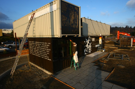 A shipping containers turns into a Starbucks cafe on East Marginal Way, by Joshua Trujillo