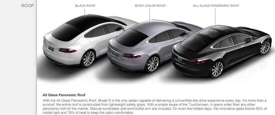 Tesla Motors Model S Roof - Model S and Model S Signature